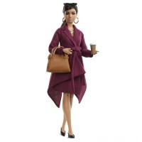 Barbie Signature Styled By Chriselle Lim Collector Doll in Burgundy Trench Dress Free Shipping