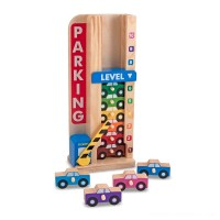 Melissa & Doug Stack & ct Wooden Parking Garage With 10 Cars Free Shipping