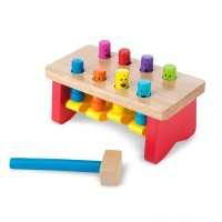 Melissa & Doug Deluxe Pounding Bench Wooden Toy With Mallet Free Shipping