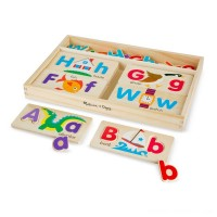 Melissa & Doug ABC Picture Boards - Educational Toy With 13 Double-Sided Wooden Boards and 52 Letters Free Shipping