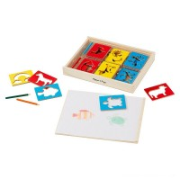 Melissa & Doug Wooden Stencil Set With 27 Themed Stencils and 4 Pencils Free Shipping