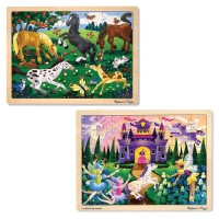 Melissa & Doug Wooden Jigsaw Puzzles Set - Fairy Princess Castle and Horses 2pc Free Shipping