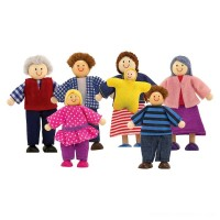 Melissa & Doug 7-Piece Poseable Wooden Doll Family for Dollhouse (2-4 inches each) Free Shipping