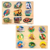 Melissa & Doug Sound Puzzles Set: Pets and Wild Animals Wooden Peg Puzzles 2pc Free Shipping