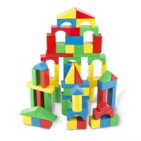 Melissa & Doug Wooden Building Blocks Set - 100 Blocks in 4 Colors and 9 Shapes Free Shipping