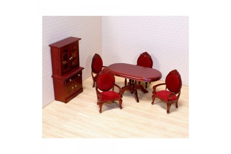Melissa & Doug Classic Wooden Dollhouse Dining Room Furniture (6pc) - Table, Armchairs, Hutch Free Shipping