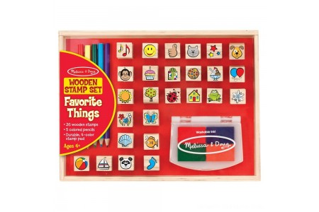 Melissa & Doug Wooden Stamp Set, Favorite Things - 26 Wooden Stamps, 4-Color Stamp Pad Free Shipping
