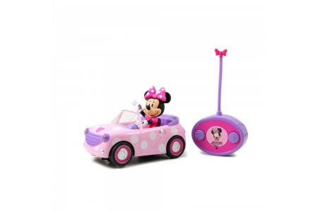 "Jada Toys Disney Junior RC Minnie Bowtique Roadster Remote Control Vehicle 7"" Pink with White Polka Dots Free Shipping"