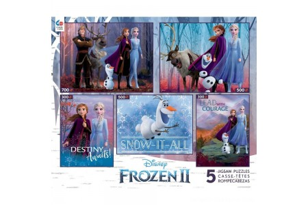 Ceaco Disney Frozen 2 5pk Puzzles 2300pc, Adult Unisex Free Shipping