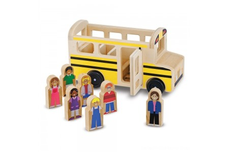 Black Friday 2020 Sale Melissa & Doug School Bus Wooden Play Set With 7 Play Figures Free Shipping