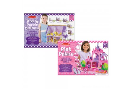 Melissa And Doug Pretty Purple Dollhouse And Pink Palace 3D Puzzle 200pc Free Shipping