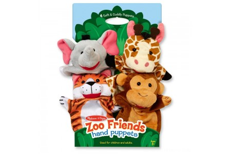 Black Friday 2020 Sale Melissa & Doug Zoo Friends Hand Puppets (Set of 4) - Elephant, Giraffe, Tiger, and Monkey Free Shipping