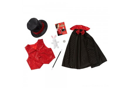 Melissa & Doug Magician Role Play Costume Set - Includes Hat, Cape, Wand, Magic Tricks, Adult Unisex Free Shipping
