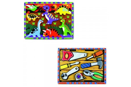 Melissa & Doug Wooden Chunky Puzzles Set - Tools and Dinosaurs 14pc Free Shipping