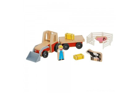 Melissa & Doug Farm Tractor Wooden Vehicle Play Set (5pc) Free Shipping