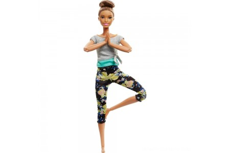 Barbie Made To Move Yoga Doll - Floral Blue Free Shipping