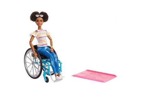 Barbie Fashionistas Doll #133 Brunette with Rolling Wheelchair and Ramp Free Shipping
