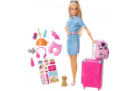 Barbie Travel Doll & Puppy Playset Free Shipping