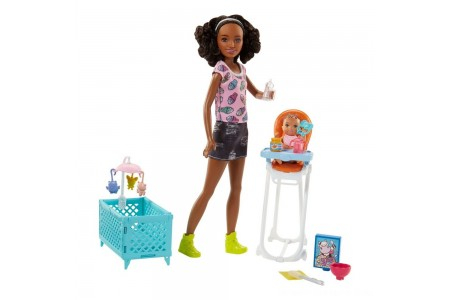Barbie Skipper Babysitters Inc. Doll and Feeding Playset - Brunette Free Shipping