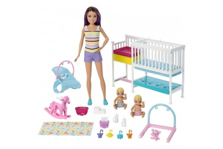 Barbie Skipper Babysitters Inc Nap 'n' Nurture Nursery Dolls and Playset Free Shipping