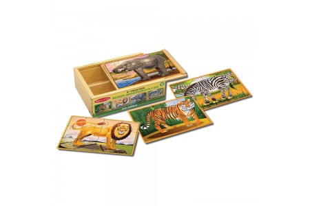 Black Friday 2020 Sale Melissa & Doug Wild Animals 4-in-1 Wooden Jigsaw Puzzles in a Storage Box (48pc) Free Shipping