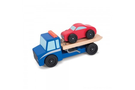 Melissa & Doug Flatbed Tow Truck Wooden Vehicle Set Free Shipping