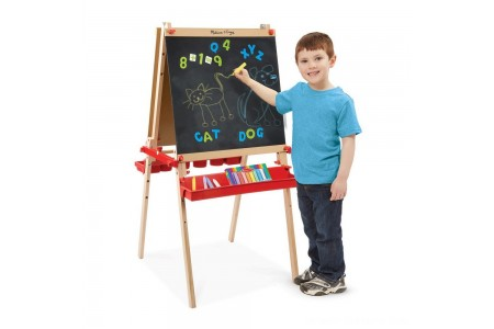 Melissa & Doug Deluxe Magnetic Standing Art Easel With Chalkboard, Dry-Erase Board, and 39 Letter and Number Magnets Free Shipping