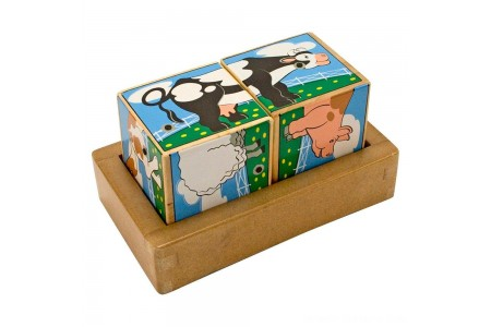 Melissa & Doug Farm Sound Blocks 6-in-1 Puzzle With Wooden Tray Free Shipping