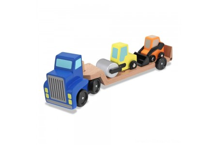 Black Friday 2020 Sale Melissa & Doug Low Loader Wooden Vehicle Play Set - 1 Truck With 2 Chunky Construction Vehicles Free Shipping