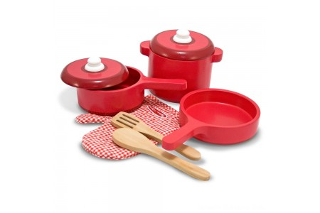 Melissa & Doug Deluxe Wooden Kitchen Accessory Set - Pots & Pans (8pc) Free Shipping