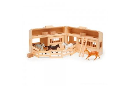 Melissa & Doug Fold and Go Wooden Horse Stable Dollhouse With Handle and Toy Horses (11 pc) Free Shipping