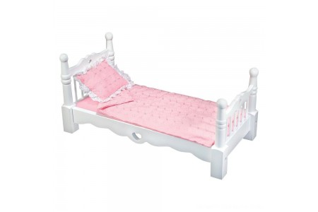 Black Friday 2020 Sale Melissa & Doug White Wooden Doll Bed With Bedding (24 x 12 x 11 inches) Free Shipping