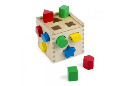 Melissa & Doug Shape Sorting Cube - Classic Wooden Toy With 12 Shapes Free Shipping