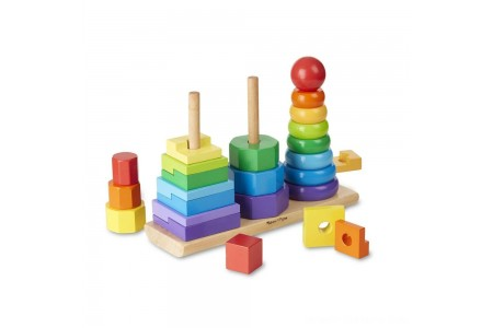 Melissa & Doug Geometric Stacker - Wooden Educational Toy Free Shipping