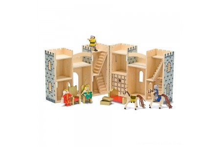 Melissa & Doug Fold and Go Wooden Castle Dollhouse With Wooden Dolls and Horses (12pc) Free Shipping