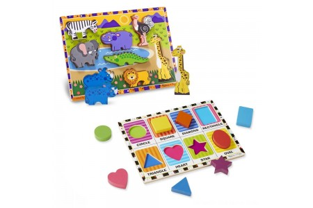 Melissa & Doug Wooden Chunky Puzzle Set - Wild Safari Animals and Shapes 16pc Free Shipping