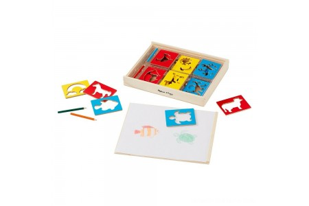 Black Friday 2020 Sale Melissa & Doug Wooden Stencil Set With 27 Themed Stencils and 4 Pencils Free Shipping