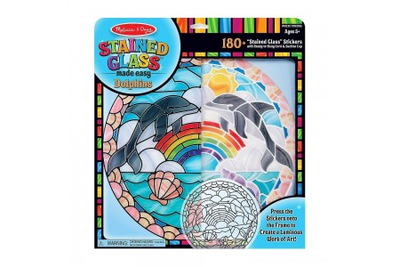Melissa & Doug Stained Glass Made Easy Craft Kit: Dolphins - 180+ Stickers Free Shipping