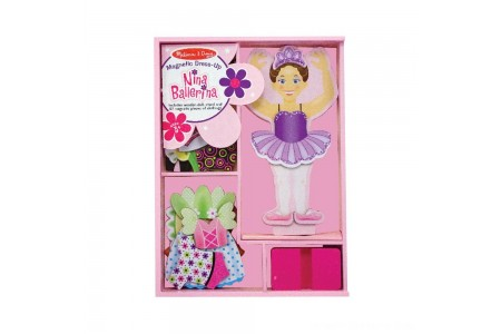 Melissa & Doug Deluxe Nina Ballerina Magnetic Dress-Up Wooden Doll With 27pc of Clothing Free Shipping