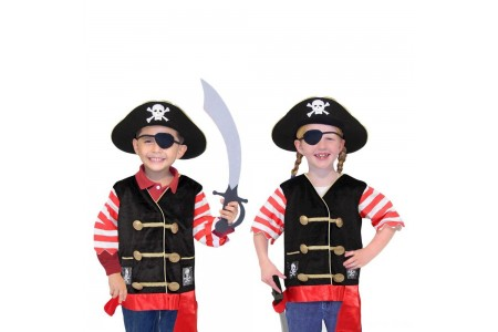 Melissa & Doug Pirate Role Play Costume Dress-Up Set With Hat, Sword, and Eye Patch, Adult Unisex, Black Free Shipping