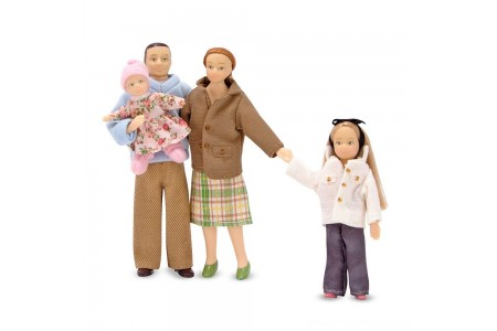 Melissa & Doug 4-Piece Victorian Vinyl Poseable Doll Family for Dollhouse - 1:12 Scale Free Shipping