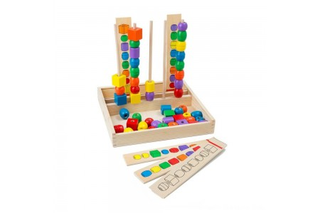 Melissa & Doug Bead Sequencing Set With 46 Wooden Beads and 5 Double-Sided Pattern Boards Free Shipping