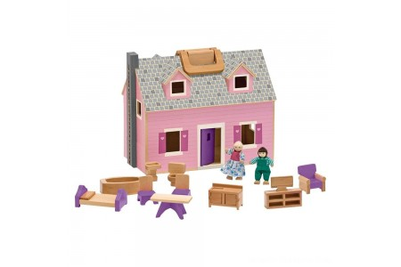 Black Friday 2020 Sale Melissa & Doug Fold and Go Wooden Dollhouse With 2 Dolls and Wooden Furniture Free Shipping
