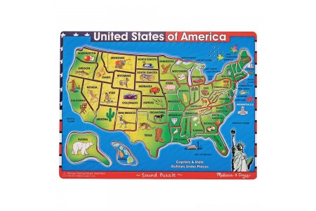 Black Friday 2020 Sale Melissa & Doug USA Map Sound Puzzle - Wooden Peg Puzzle With Sound Effects (40pc) Free Shipping