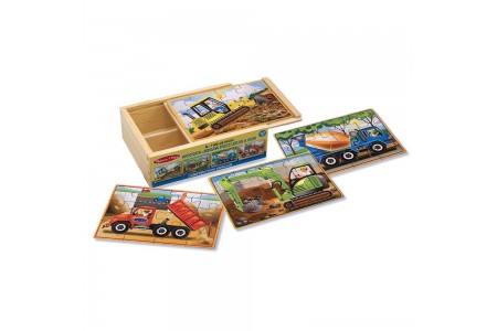 Melissa & Doug Construction Vehicles 4-in-1 Wooden Jigsaw Puzzles (48pc) Free Shipping