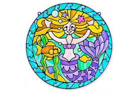 Melissa & Doug Stained Glass Made Easy Activity Kit: Mermaids - 140+ Stickers Free Shipping