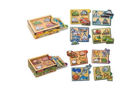 Melissa & Doug Wooden Mini-Puzzle Set With Storage and Travel Case 32pc Free Shipping
