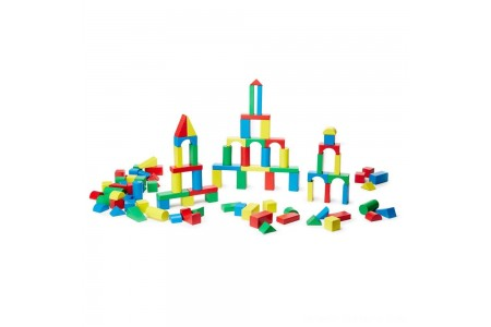 Melissa & Doug Wooden Building Block Set - 200 Blocks in 4 Colors and 9 Shapes Free Shipping