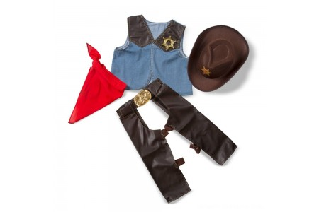 Black Friday 2020 Sale Melissa & Doug Cowboy Role Play Costume Set (5pc) - Includes Faux Leather Chaps, Adult Unisex, Blue/Gold/Red Free Shipping