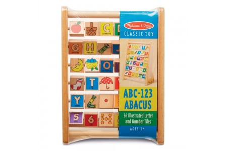 Melissa & Doug ABC-123 Abacus - Classic Wooden Educational Toy With 36 Letter and Number Tiles Free Shipping